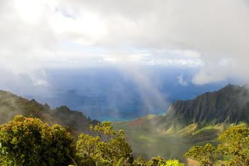 Kalalau Valley on the Na Pali coast, Kauai, Hawaii. On white.