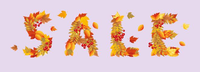 Autumn sale banner. vector illustration