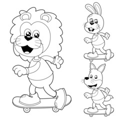 Illustration of cute animals on Skateboard