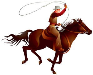Cowboy rider throwing lasso