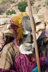Dogon tribes men dancing with their traditional mask, Mali.