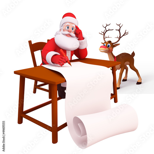 santa writting along gift list with reindeer