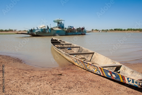 Typical boat used to navigate the river near Djenné, Mali,.