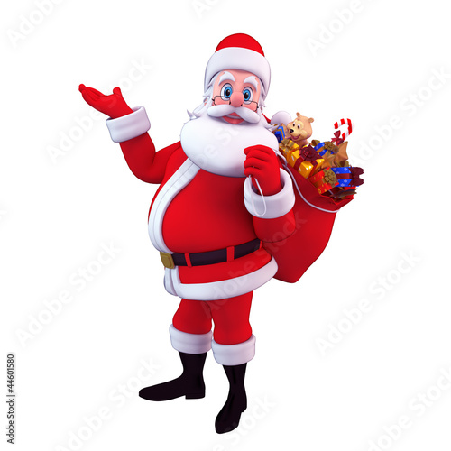 santa carrying gift bag isolated with white