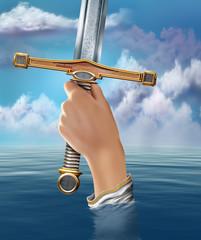 Lady of the Lake raising Excalibur