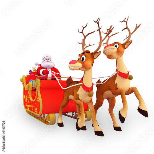 illustration of santa claus is with his sleigh and gifts
