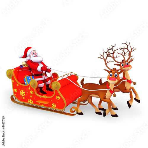santa claus is with his sleigh and gifts