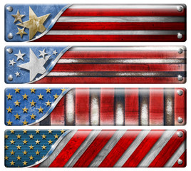 Set of USA Grunge Flags with clipping path