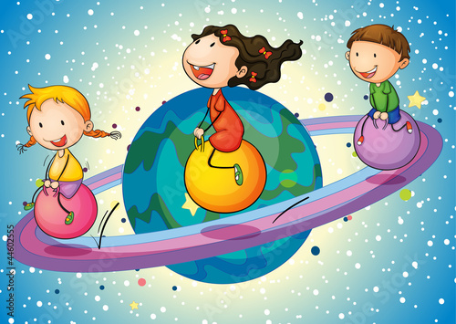 Plexiglas Kosmos kids on planet