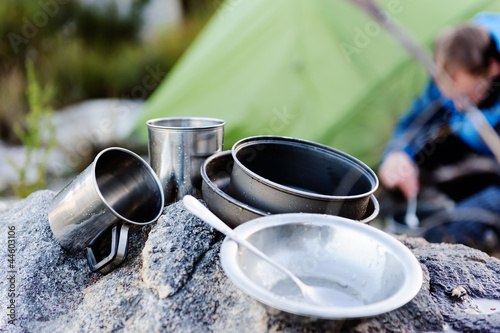 Outdoor cooking utensilts camping man