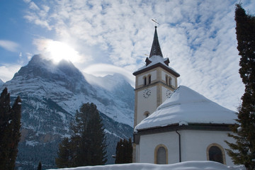 Church near the Grindelwald ski area. Swiss alps at winter