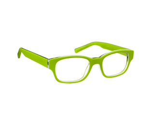 Green glasses isolated on white