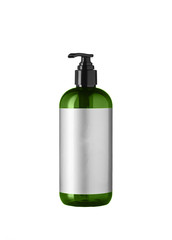Green cosmetic bottle isolated on the white