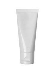 White cosmetic tube with cream isolated on white background