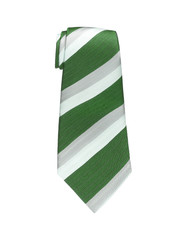 Green and white tie isolated on white