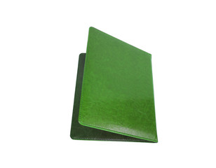Leather green folder isolated on white