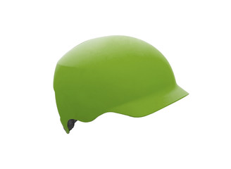 Green helmet isolated on white