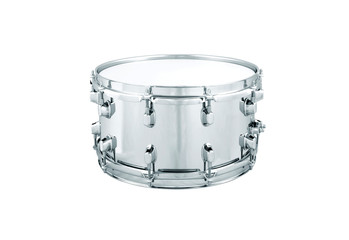 Silver drum isolated on white