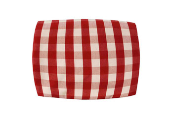 Red plaid pillow isolated on white