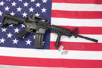M4 RIS assault carbine on us flag