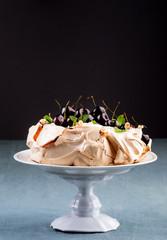 Cherry pavlova, similar to meringue dessert