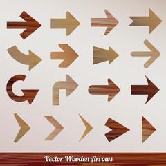 Vector set arrows wooden