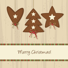 Brown Heart, Tree and Star - Christmas Background