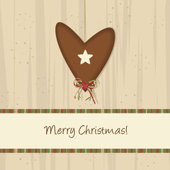 Brown Christmas Heart Background