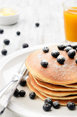 Country style pancakes with blueberries