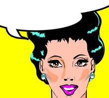 Vector illustration d'une femme dans une fenêtre pop art / style bande dessinée.