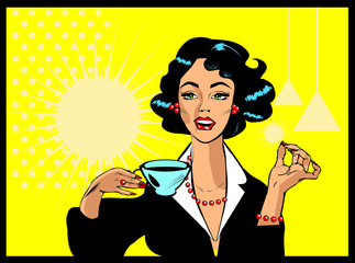 Coffee Lover vector poster with woman and cup of coffee in hand,