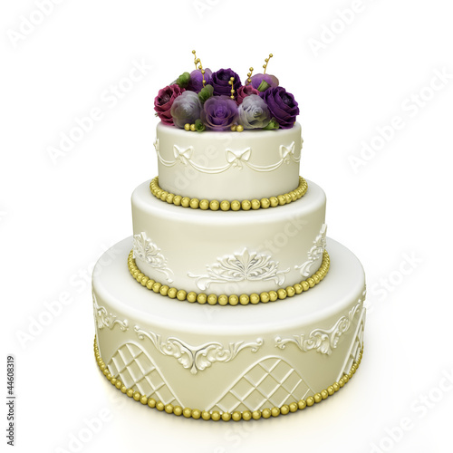 wedding celebration cake with roses and patterns
