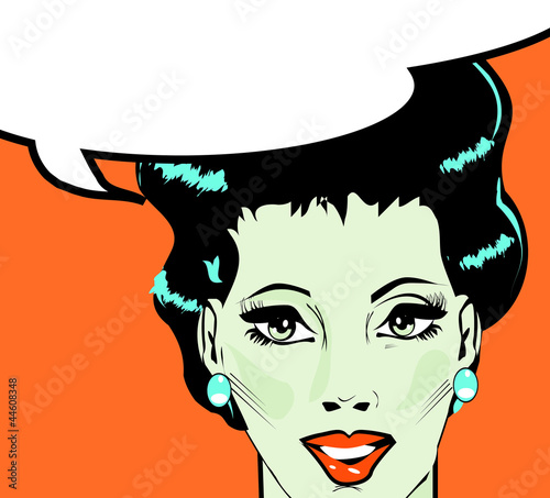 Vector illustration of woman in a pop art/comic style.