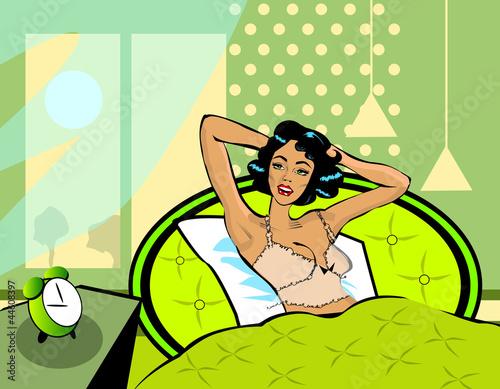 obudz-sie-ilustracja-kobieta-budzi-sie-z-lozka-rano