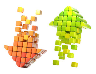 Arrow icons made of glossy cubes