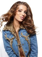 Beautiful woman  in blue jeans