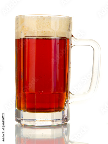 glass of kvass isolated on white background