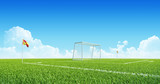 Soccer (Football) goal on playing field. Sport Background