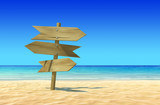 Guide Sign on Beach Background. Guideboard with copyspace