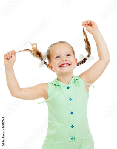 funny playful child girl on white background