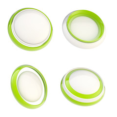 Set of green template buttons isolated