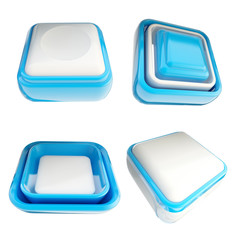 Set of blue template buttons isolated