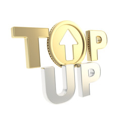 Top-up emblem icon with up arrow coin