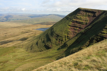 grassy slopes in Brecon Beacons National Park