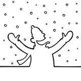 Black line art illustration of a man playing with snowflakes.
