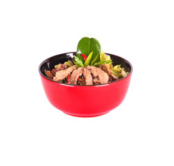 Healthy Chinese food in a red plate isolated