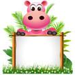 cute hippo with board