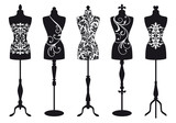 Fototapety fashion mannequins, vector set