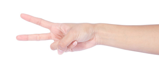 Hand with two fingers up in the peace