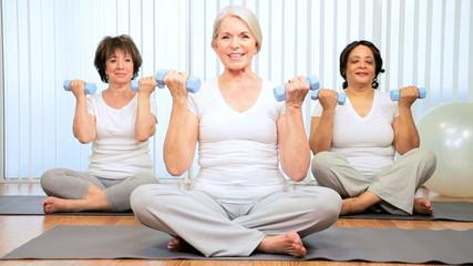 Older Female Health Club Yoga Class